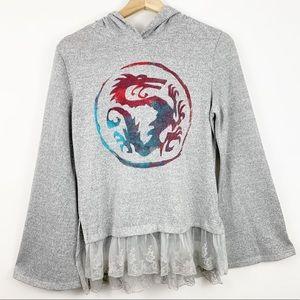 Disney Mulan Sweatshirt Hoodie Girls M Lace Bell
